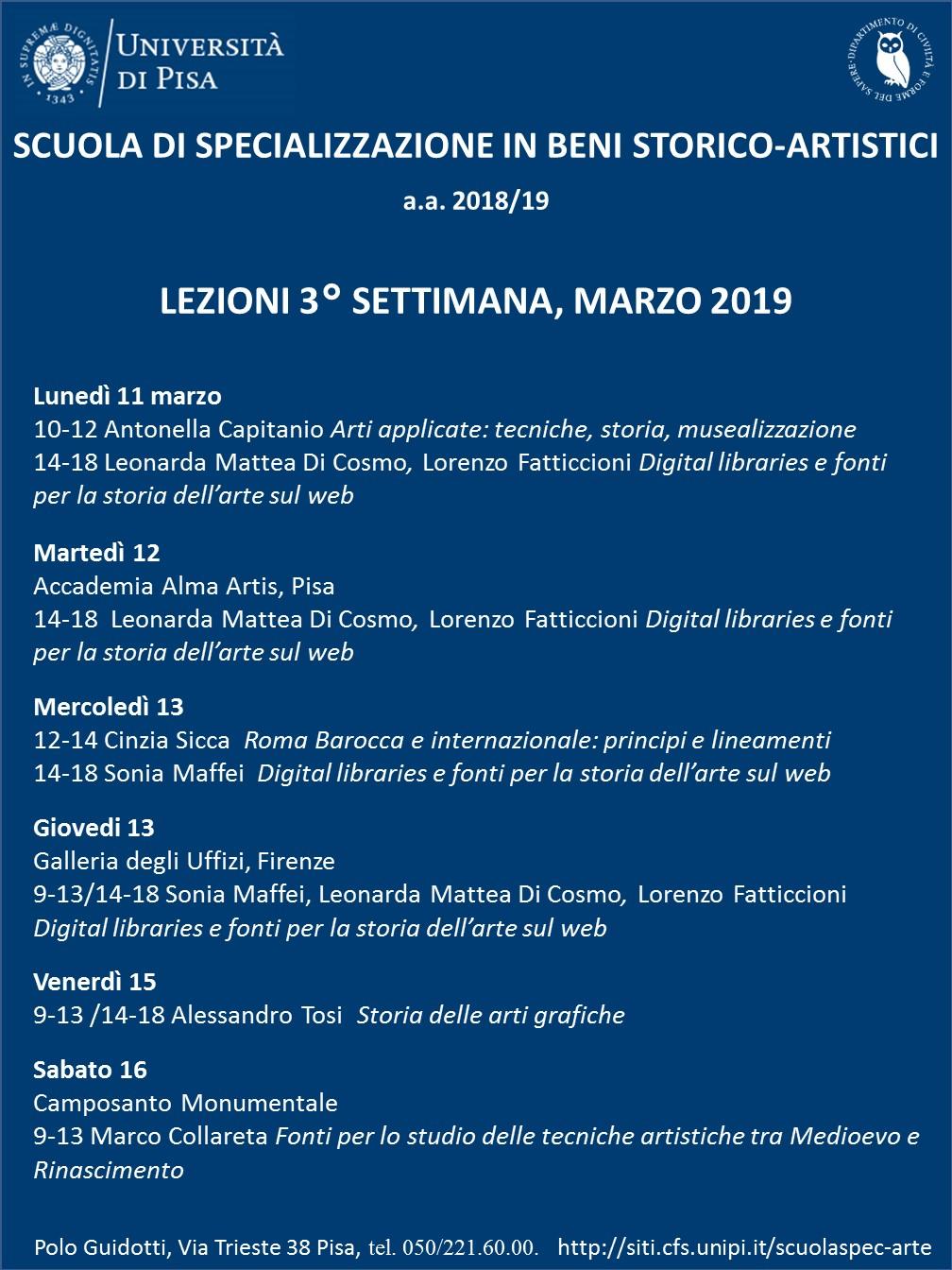 Calendario Lezioni Unipi.Calendario Dei Corsi 2018 2019
